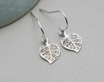 Silver Leaf Earrings, Leaf Earrings, Filigree Leaf Earrings, Sterling Silver Earrings, Tiny Leaf Earrings, Woodland Earrings, Simple Jewelry