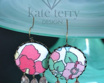 Colorful Button Chandelier Earrings