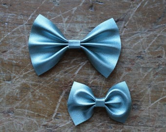 pastel metallic blue leather bow hair clips
