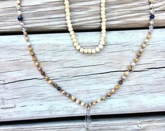 Sale 39.99 Was 59.99 Quartz long necklace/Agate beaded necklace/long boho necklace