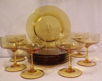Champagne/Dessert Glass and Luncheon/Salad Plates set of 6 Each Yellow Gold Amber