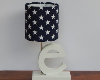 small navy blue white chevron drum lamp shade nursery or. Black Bedroom Furniture Sets. Home Design Ideas