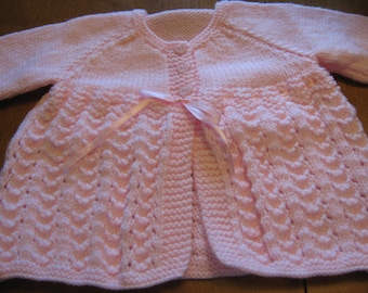 New Hand Knit Pink Baby Sweater / Cardigan