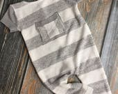 Newborn Photography Prop - Upcycled Boys Romper - rough cut faux pocket - grey - white - stripe