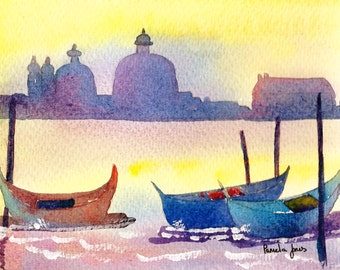 Evening Light, Venice, Gondolas, Italy, Watercolour Print, 8ins x 6ins, Gift Idea, Art And Collectibles, Home and Living
