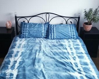 Shibori Bedding | Tie Dye Pillowcases | Boho Home Decor | Indigo Bedding | Hippie Bedding | Tie Dye Duvet Set | Indigo | Tie Dye Bedding
