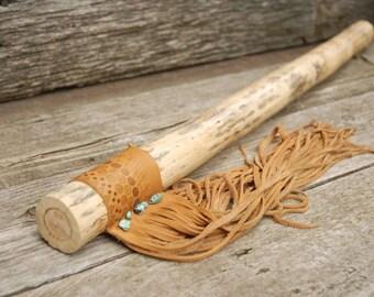 "Rain Stick,Tribal Rain Stick,30 "" Rainstick, Turquoise and leather rainstick"