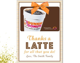 Thanks A Latte For All That You Do  Gift card Holder-Printable & Editable-Teacher Gift Card Holder-Daycare Gift