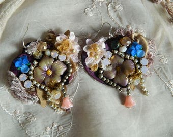 "Embellished and ""embroidered earrings with Swarovski crystal, flowers in resin and polymer clay"