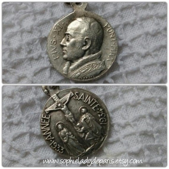Holy Year 1933 Antique French Silver Medal Pope Pius XI Crucifix on Reverse  #sophieladydeparis
