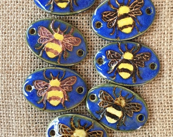 Handmade Ceramic Pendant - DIY Jewelry Queen Bee Gift - Bumblebee Bracelet Bangle - Bee Bracelet Pendant - Queen Bee Jewelry - Artisan Bead