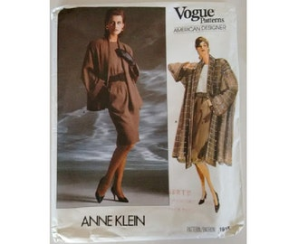 "UNCUT Vogue American Designer 1915 ©1987 Anne Klein Misses' Jacket, Coat, Skirt & Top 3 Sizes Bust  36"" 38"" 40"""