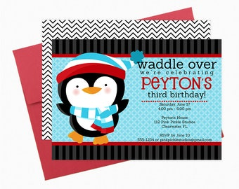 Penguin Invitation, Penguin Birthday Party, Penguin Birthday Invitation, Penguin Invite, Penguin Party, Penguin Birthday, Penguin Baby | 112