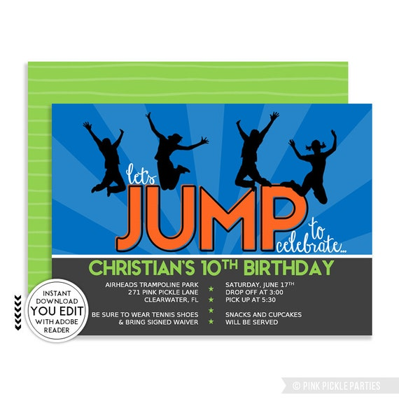 Trampoline Party Invitations: Trampoline Invitation Trampoline Party Invitation Trampoline