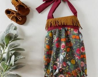 Size 0-3M Boho floral romper, fringe romper, baby sun suit, summer halter romper