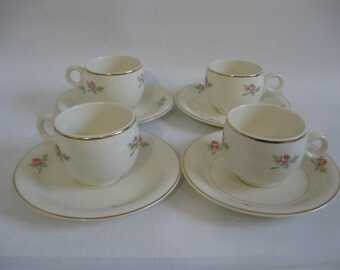 Homer Laughlin Swing Eggshell AD Cup & Saucer, FIVE Demi Sets