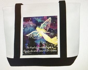 Canvas Tote Bag with The Angel of Faith  Original Artwork