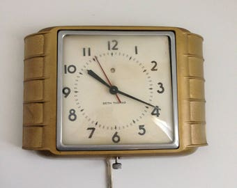 vintage seth thomas art deco electric wall clock gold