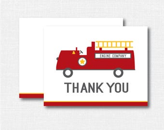 Fire Truck Thank You Note -  Boy Stationery - Fireman Notecard - Folded Card - Thank You Note - INSTANT DOWNLOAD