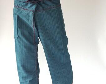 TC8002 Dark Green Hand Sewing Inseam design for Thai Fisherman Pants Wide Leg pants, Wrap pants, Unisex pants