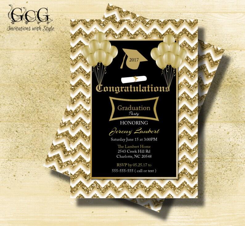 Graduation invitation Black and Gold Glitter invitations class of