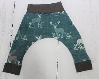Blithe Deer Harem Pants, Baby and Kids Harem Pant Leggings, Floral Deer, Teal, Jade, Grey Trim, Gender Neutral