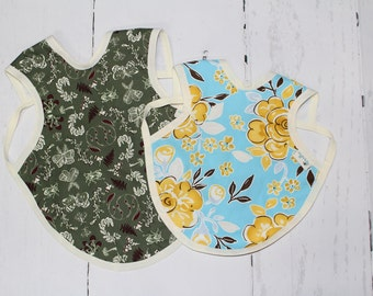 Bapron, Full Coverage Bib, Art Smock, Baby Toddler Apron Bib, Nature Study, Outdoors, Green Forest Floor, Yellow Rose, Floral