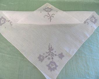 Grey floral applique hankie /  vintage Madeira unused handkerchief