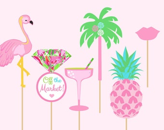 Lilly Pulitzer Bridal Shower Photo Booth Props -Set of 6
