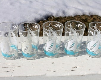 Set of 5 Fabulous Nautical Vintage Glasses with Sailboats and Seagulls Vintage Tumblers