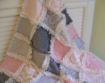 Crib Rag Quilt, Pink Gray Minky Chenille Chevron Baby Quilt Baby Bedding Crib Bedding Girl