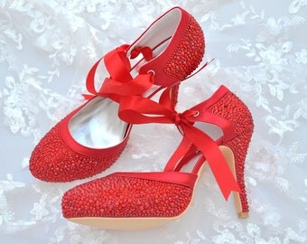 Custom handmade red swarovski crystal satin bow tie front mid heel bridal wedding lace ankle mary jane dorsay court