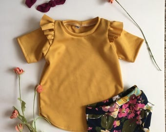 Mustard Flutter Sleeve Tunic Dress