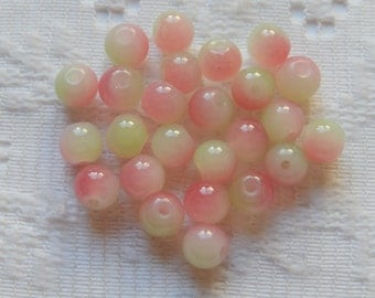 25  Pistachio Green & White Rose Pink Opal Round Glass Beads  6mm