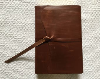 ESV Study Bible Thumb Indexed custom recovered covered cowhide leather with strap