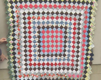 Vintage Cotton Quilt Top  1950's PATCHWORK    Somewhat Similar to Trip Around the World Pattern