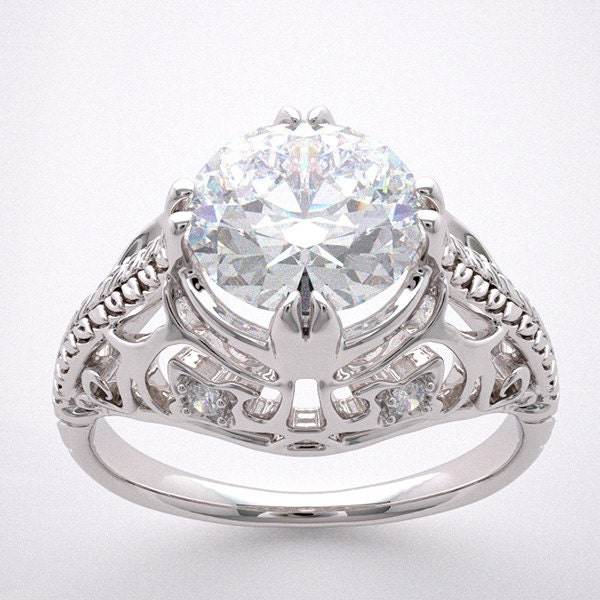 Engagement Ring Setting Antique Art Deco Filigree Style With