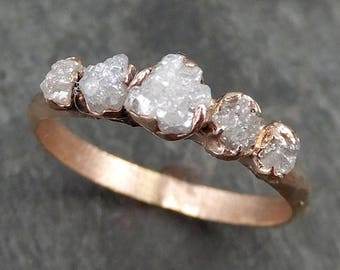 Custom Diamond Rose gold Engagement Ring Rough Gold Wedding Ring diamond Wedding Ring Rough Diamond Ring byAngeline 0530