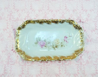 Vintage Rectangular Bowl Pink Flowers Gold Details Made in Germany 480