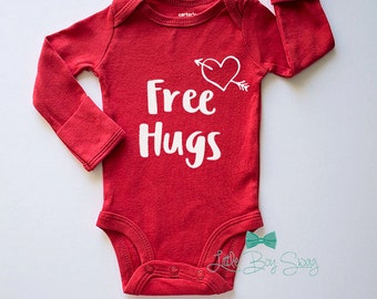 Boys Valentines Day Outfit, Free Hugs Valentines Day, Newborn - 12 Months Bodysuit, Baby Boy Clothing, Baby Shower Gift, Newborn Gift, Baby