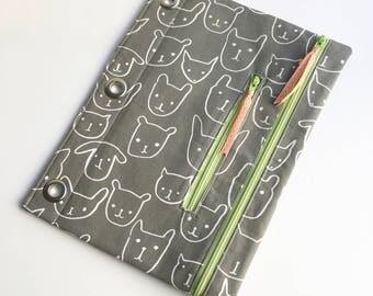Pencil Case  3 Ring Binder Case  Pencil Pouch  Binder Pouch  Pouch  Three Ring Binder  School Supply Crayon Case Double Pouch Binder Case