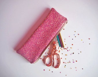 Pink & Rose Gold Glitter Pencil Case, Sparkly Pink Stationery, Pink Glitter Pencil Case, Rose Gold Glitter, Pink Pencil Pouch,