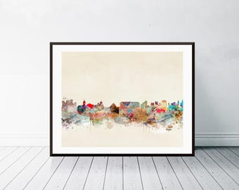 naples italy skyline . naples cityscape. colorful modern pop art skylines . colorful watercolor skyline.Giclee art print.color your world