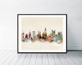 columbus ohio skyline .columbus city skyline. columbus cityscape. colorful watercolor skyline.Giclee art print.color your world with bri.