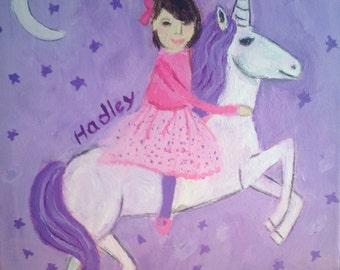 Happy Birthday Hadley! Custom 2nd  birthday gift from Grandma. signed acrylic painting on canvas.