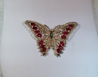 Vintage Pink Butterfly Brooch