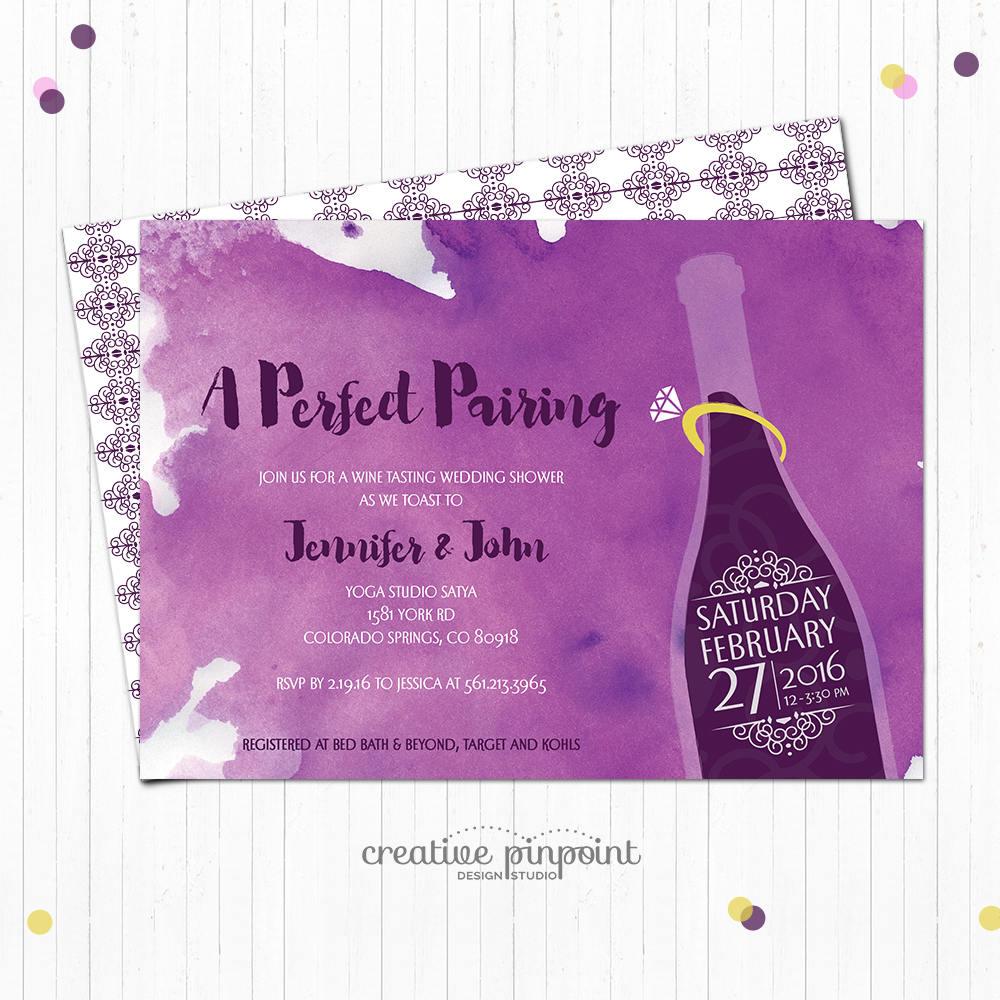 Wine Pairing Invite - Bridale Shower Invitation Wine - Wine ...