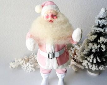 Vintage pink Santa Gale Christmas decoration figure doll