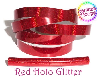 Cherry Red Holographic Glitter Taped performance Hula Hoop Polypro or HDPE