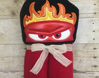 Anger hooded towel. Inside out hooded towel. Feeling anger bath towel. Kids hooded towel. Personalized bath towel.